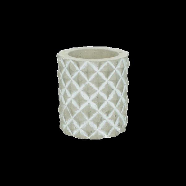 Dekoverleih Kerzenhalter Steingut grau weiß