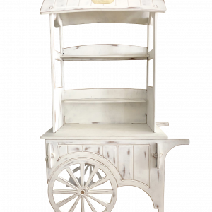 Dekoverleih Candy Bar Cart Vintage Holz weiß