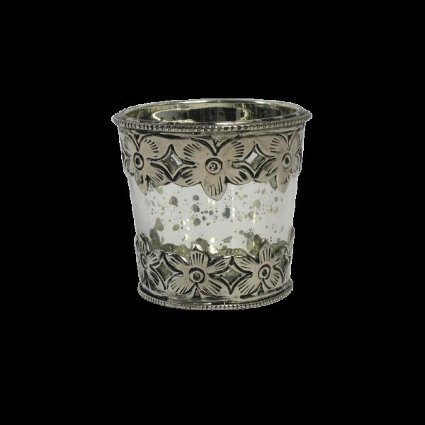 Dekoverleih Teelichthalter Antik Silber