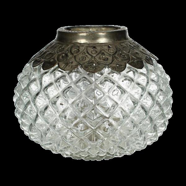 Dekoverleih Windlicht Kugel Silber Antik