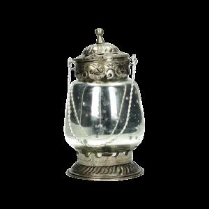 Dekoverleih Laterne Silber Glas Teelicht