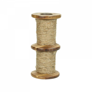 Verleih Vintage Kerzenhalter Jute und Holz