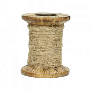 Verleih Vintage Kerzenhalter Jute mit Holz