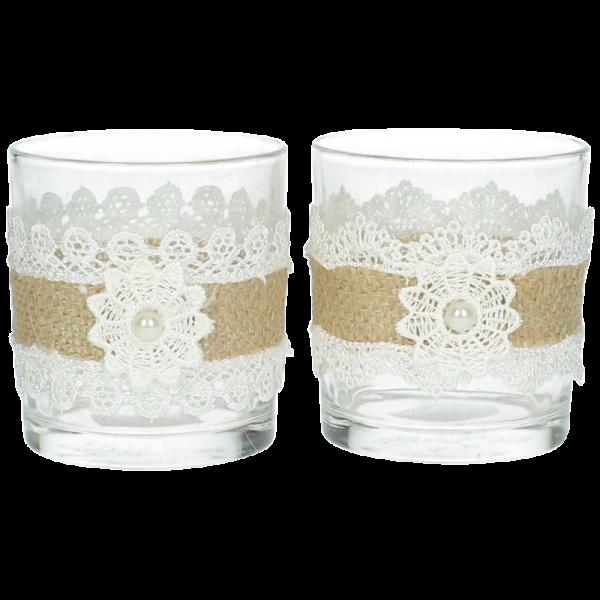 Dekoverleih Teelichthalter Vintage Spitze mit Perle und Juteband