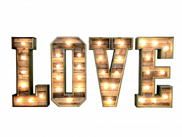 Dekoverleih Love Letter Leuchtbuchstaben Holz Hochzeitsdekoration