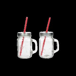 Verleih Trinklas mit Henkel und Strohhalm Mason Jar