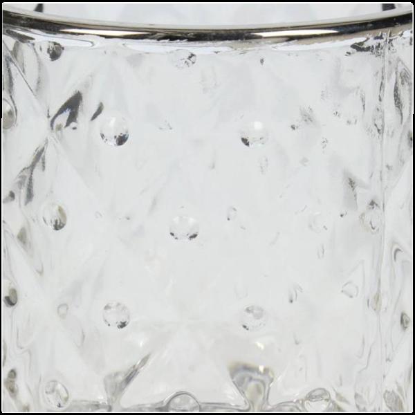 Verleih Teelichthalter Silberrand Noppen