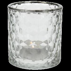Dekoverleih Teelichthalter Silberrand Raute Glas