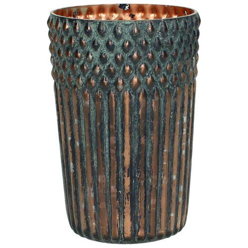 Vase Glas Kupfer grün
