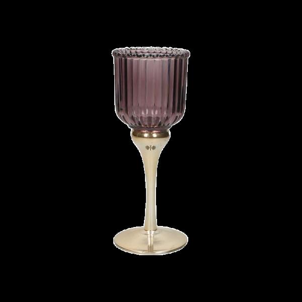 Dekoverleih Hochzeitsdekoration Teelichthalter mit Stiel beerentöne