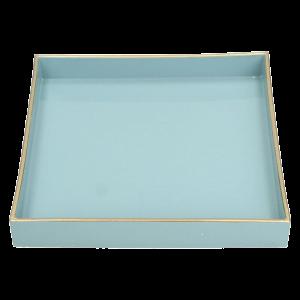 Verleih Tablett Blau mit Goldrand