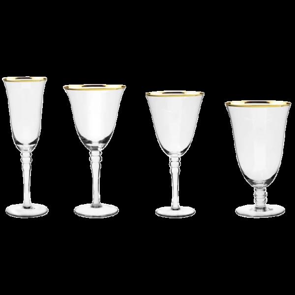 Verleih Weingläser mit goldrand Hochzeitsdeko