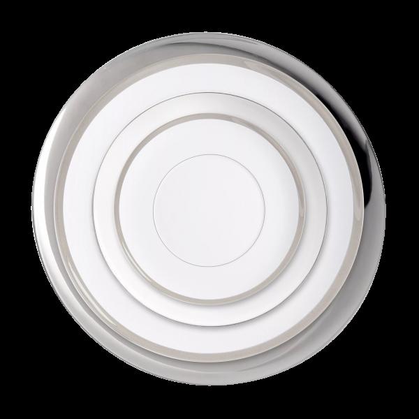 Verleih Platzteller Silberrand Porzellan