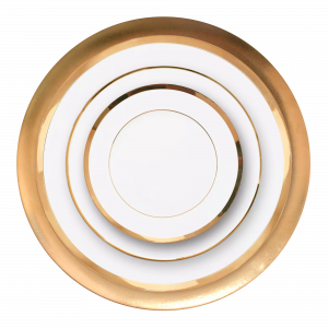 Verleih Platzteller Porzellan Weiß goldrand