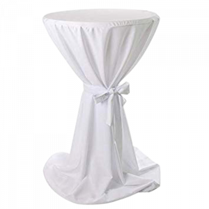 Verleih Stehtischhusse Weiß mit Band